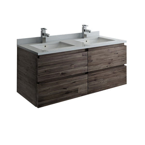 "Fresca Formosa 48"" Wall Hung Double Sink Modern Bathroom Cabinet with Top & Sinks Fresca 48 inch Double Vanity Acacia Wood"