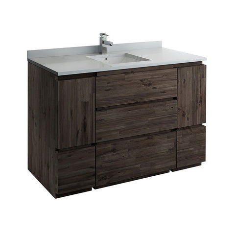 "Fresca Formosa 54"" Floor Standing Modern Bathroom Cabinet with Top & Sink Fresca 54 inch Single Vanity Acacia Wood"