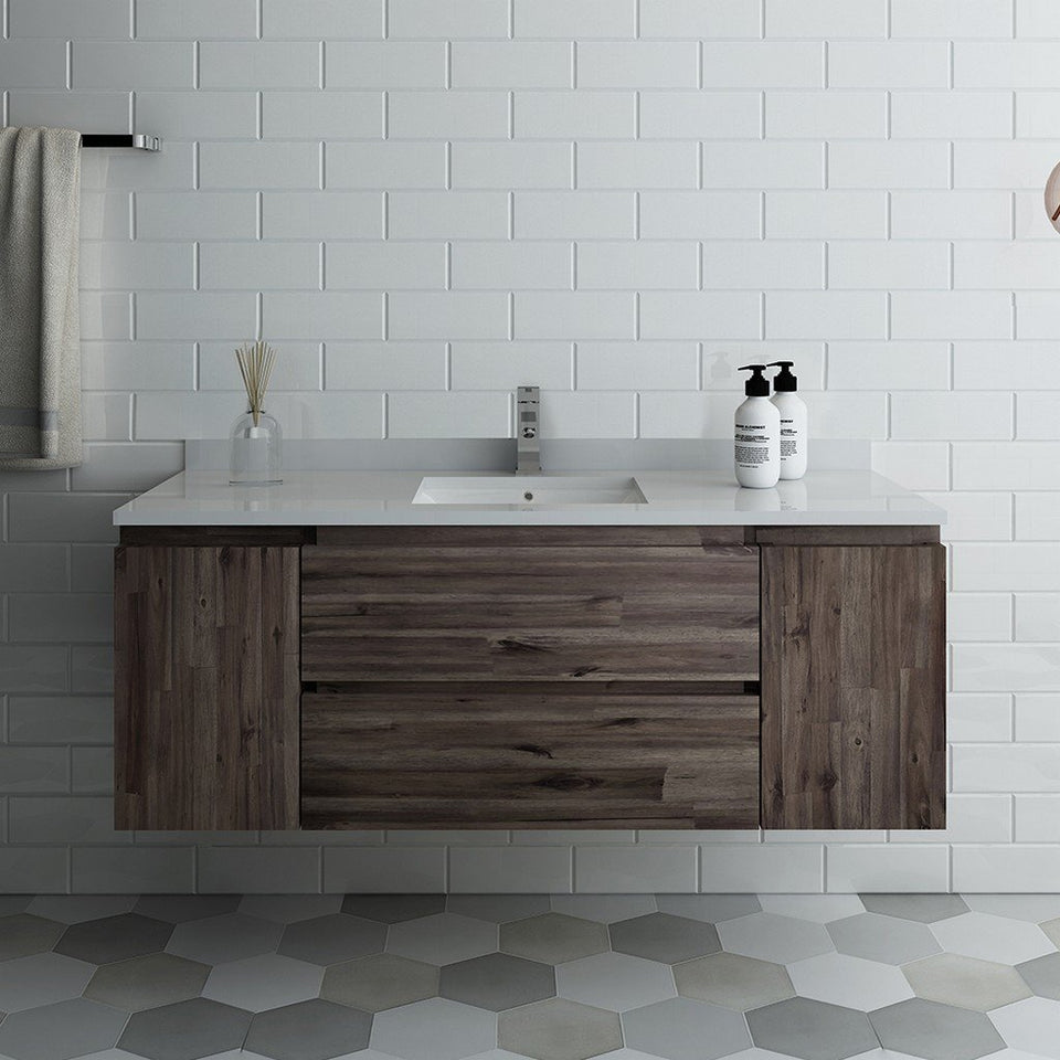 "Fresca Formosa 54"" Wall Hung Modern Bathroom Cabinet with Top & Sink Fresca 54 inch Single Vanity"