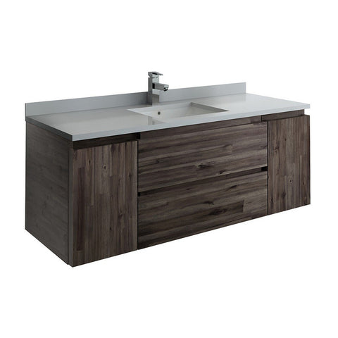 "Fresca Formosa 54"" Wall Hung Modern Bathroom Cabinet with Top & Sink Fresca 54 inch Single Vanity Acacia Wood"