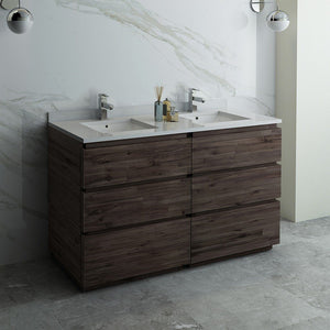 "Fresca Formosa 60"" Floor Standing Double Sink Modern Bathroom Cabinet with Top & Sinks Fresca 60 inch Double Vanity"