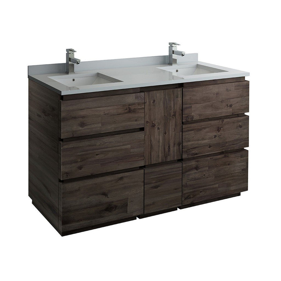 "Fresca Formosa 60"" Floor Standing Double Sink Modern Bathroom Cabinet with Top & Sinks Fresca 60 inch Double Vanity Acacia Wood"