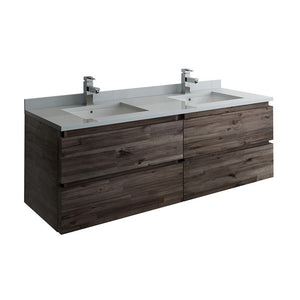 "Fresca Formosa 60"" Wall Hung Double Sink Modern Bathroom Cabinet with Top & Sinks Fresca 60 inch Double Vanity Acacia Wood"