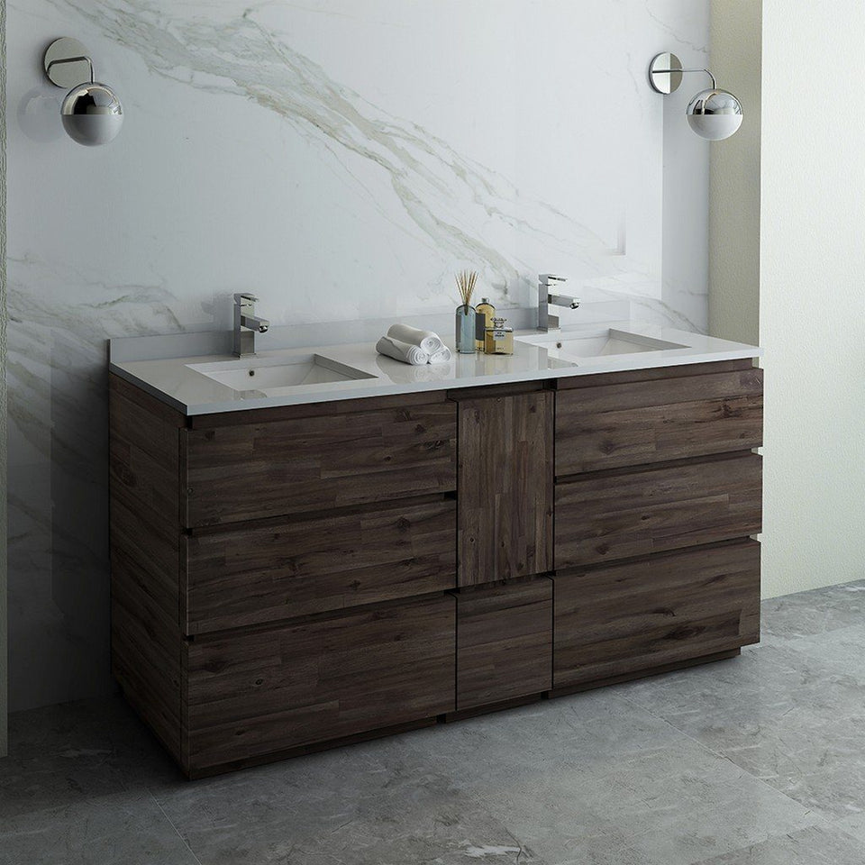"Fresca Formosa 72"" Floor Standing Double Sink Modern Bathroom Cabinet with Top & Sinks Fresca 72 inch and larger Double Vanity"