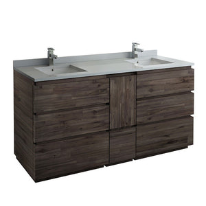 "Fresca Formosa 72"" Floor Standing Double Sink Modern Bathroom Cabinet with Top & Sinks Fresca 72 inch and larger Double Vanity Acacia Wood"