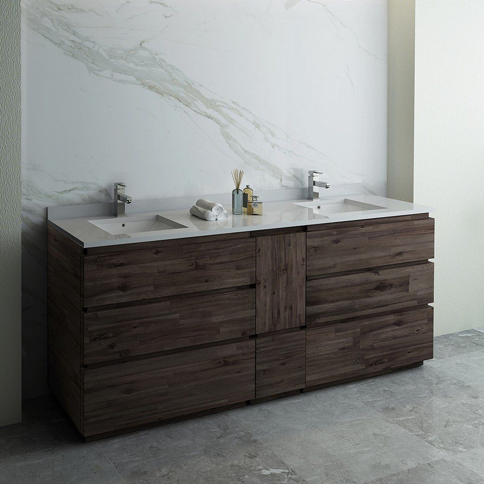 "Fresca Formosa 84"" Floor Standing Double Sink Modern Bathroom Cabinet with Top & Sinks Fresca 72 inch and larger Double Vanity"