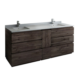 "Fresca Formosa 84"" Floor Standing Double Sink Modern Bathroom Cabinet with Top & Sinks Fresca 72 inch and larger Double Vanity Acacia Wood"