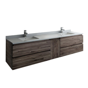 "Fresca Formosa 84"" Wall Hung Double Sink Modern Bathroom Cabinet with Top & Sinks Fresca 72 inch and larger Double Vanity Acacia Wood"