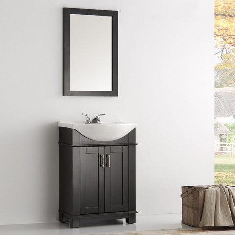 "Fresca Hartford 24"" Traditional Bathroom Vanity Fresca 24 inch Single Vanity Black"