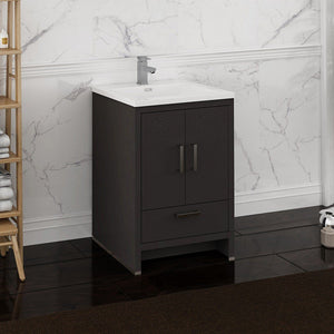 "Fresca Imperia 24"" Free Standing Modern Bathroom Cabinet with Integrated Sink Fresca 24 inch Single Vanity"