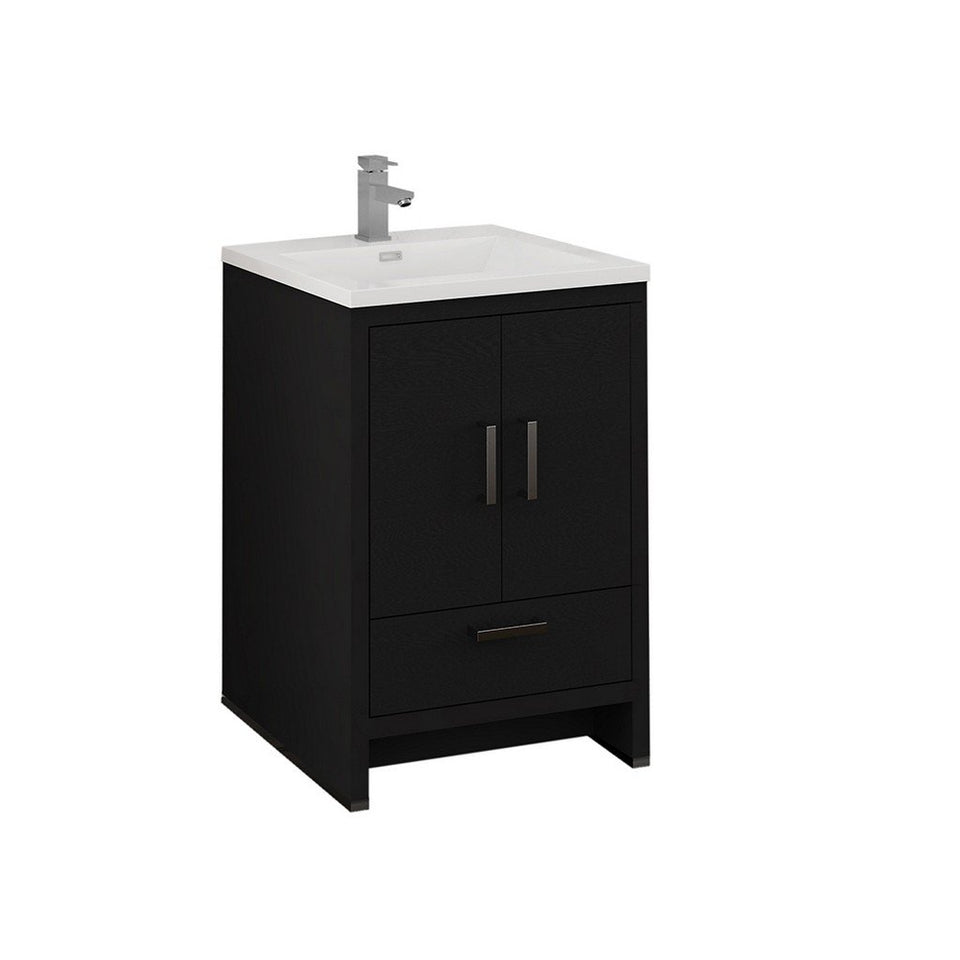 "Fresca Imperia 24"" Free Standing Modern Bathroom Cabinet with Integrated Sink Fresca 24 inch Single Vanity Dark Gray Oak"