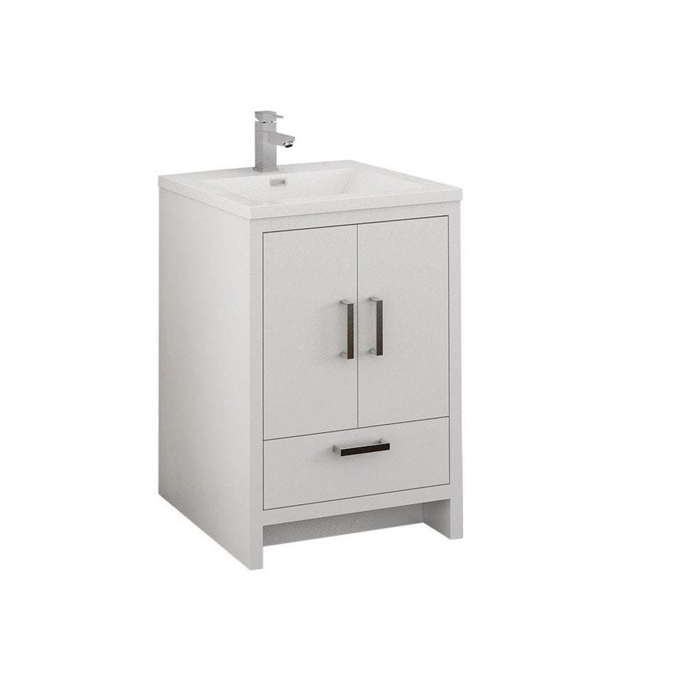 "Fresca Imperia 24"" Free Standing Modern Bathroom Cabinet with Integrated Sink Fresca 24 inch Single Vanity Glossy White"