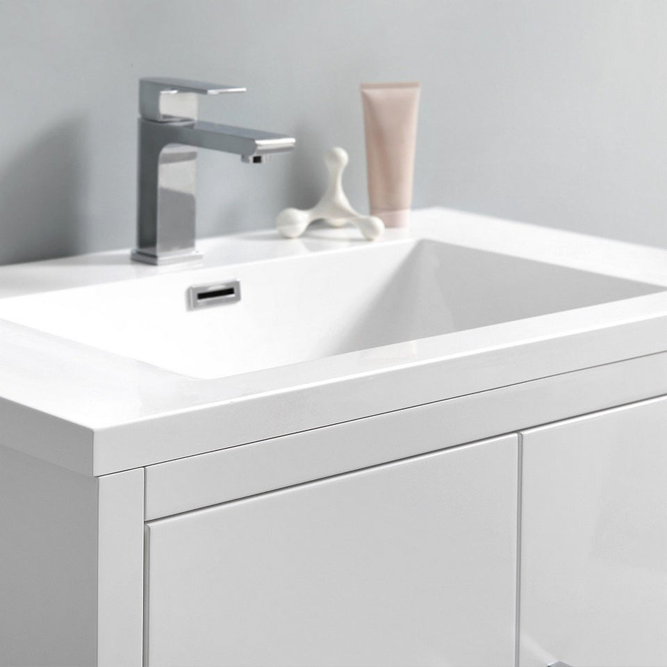 "Fresca Imperia 30"" Free Standing Modern Bathroom Cabinet with Integrated Sink Fresca 30 inch Single Vanity"