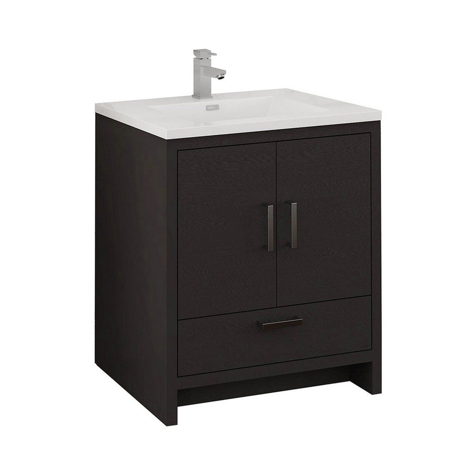 "Fresca Imperia 30"" Free Standing Modern Bathroom Cabinet with Integrated Sink Fresca 30 inch Single Vanity Dark Gray Oak"
