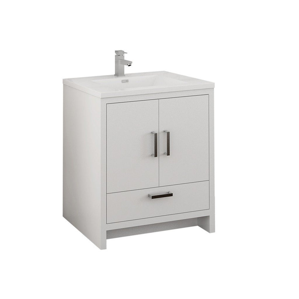 "Fresca Imperia 30"" Free Standing Modern Bathroom Cabinet with Integrated Sink Fresca 30 inch Single Vanity Glossy White"