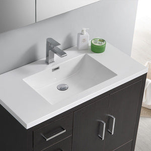 "Fresca Imperia 36"" Free Standing Modern Bathroom Cabinet with Integrated Sink - Left Version Fresca 36 inch Single Vanity"