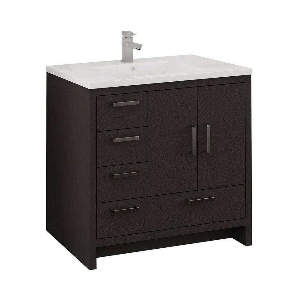 "Fresca Imperia 36"" Free Standing Modern Bathroom Cabinet with Integrated Sink - Left Version Fresca 36 inch Single Vanity Dark Gray Oak"