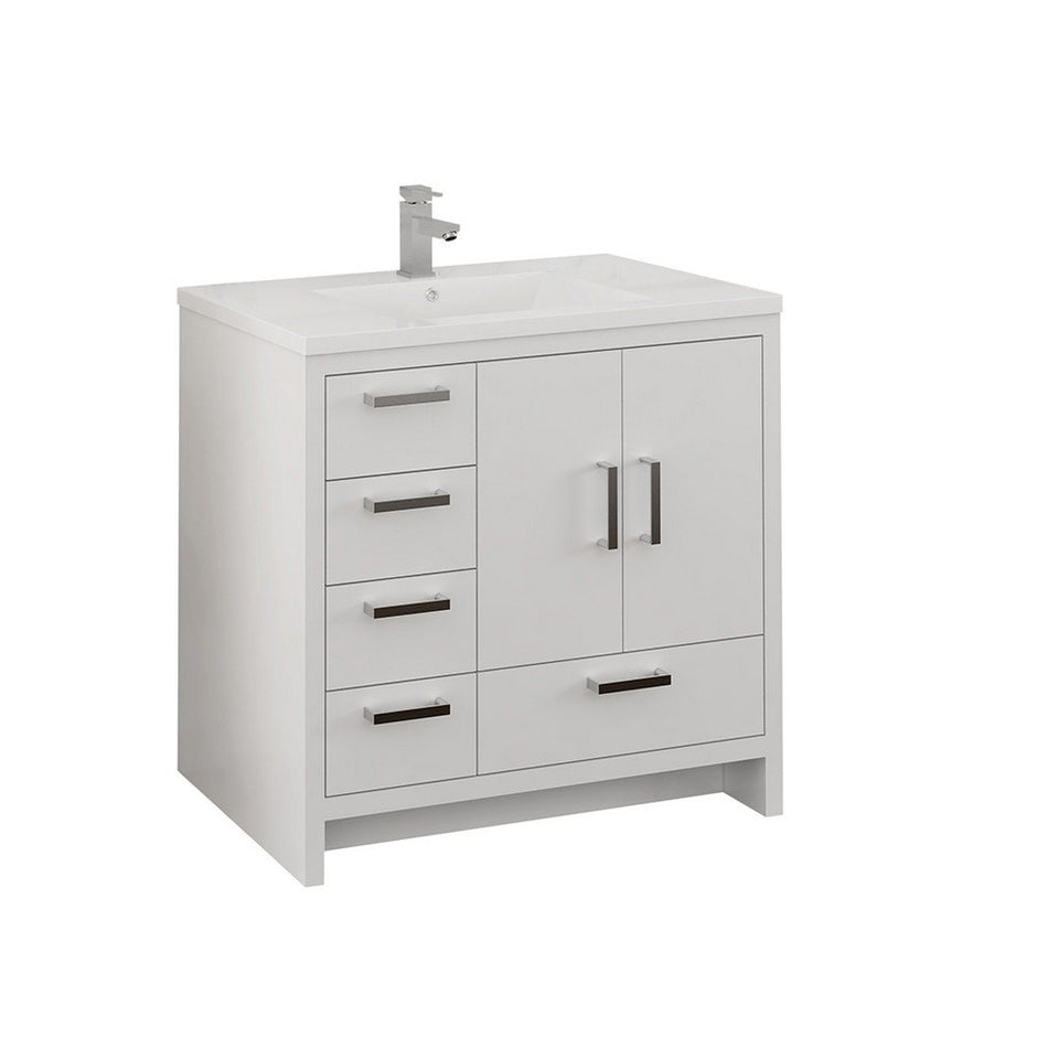 "Fresca Imperia 36"" Free Standing Modern Bathroom Cabinet with Integrated Sink - Left Version Fresca 36 inch Single Vanity Glossy White"
