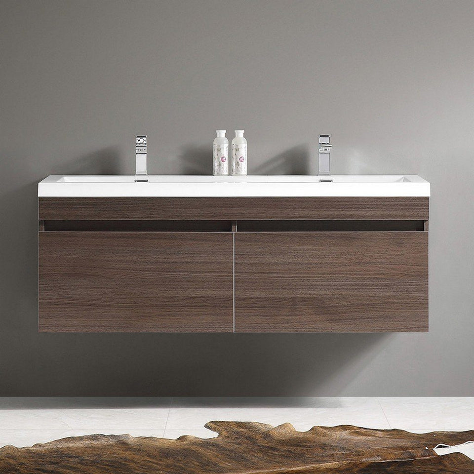 "Fresca Largo 57"" Modern Double Sink Bathroom Cabinet with Integrated Sinks Fresca 58 inch Double Vanity"