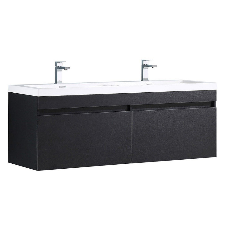"Fresca Largo 57"" Modern Double Sink Bathroom Cabinet with Integrated Sinks Fresca 58 inch Double Vanity Black"