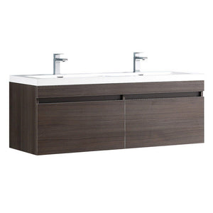 "Fresca Largo 57"" Modern Double Sink Bathroom Cabinet with Integrated Sinks Fresca 58 inch Double Vanity Gray Oak"