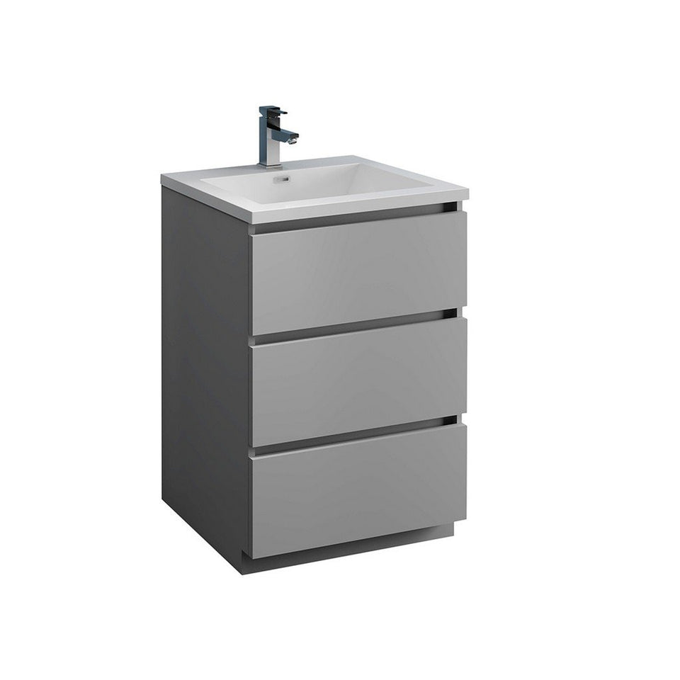 "Fresca Lazzaro 24"" Free Standing Modern Bathroom Cabinet with Integrated Sink Fresca 24 inch Single Vanity Gray"