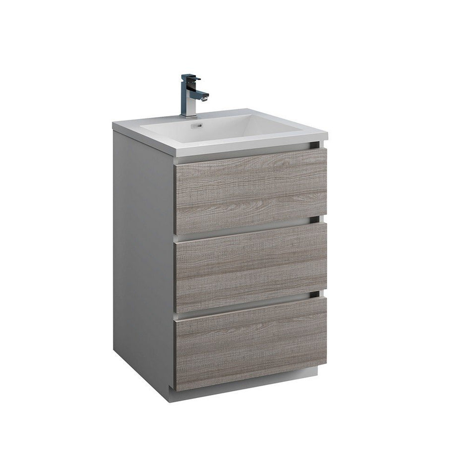 "Fresca Lazzaro 24"" Free Standing Modern Bathroom Cabinet with Integrated Sink Fresca 24 inch Single Vanity Glossy Ash Gray"