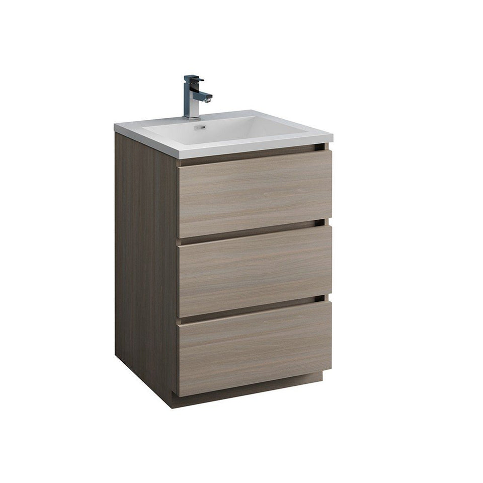 "Fresca Lazzaro 24"" Free Standing Modern Bathroom Cabinet with Integrated Sink Fresca 24 inch Single Vanity Gray Wood"