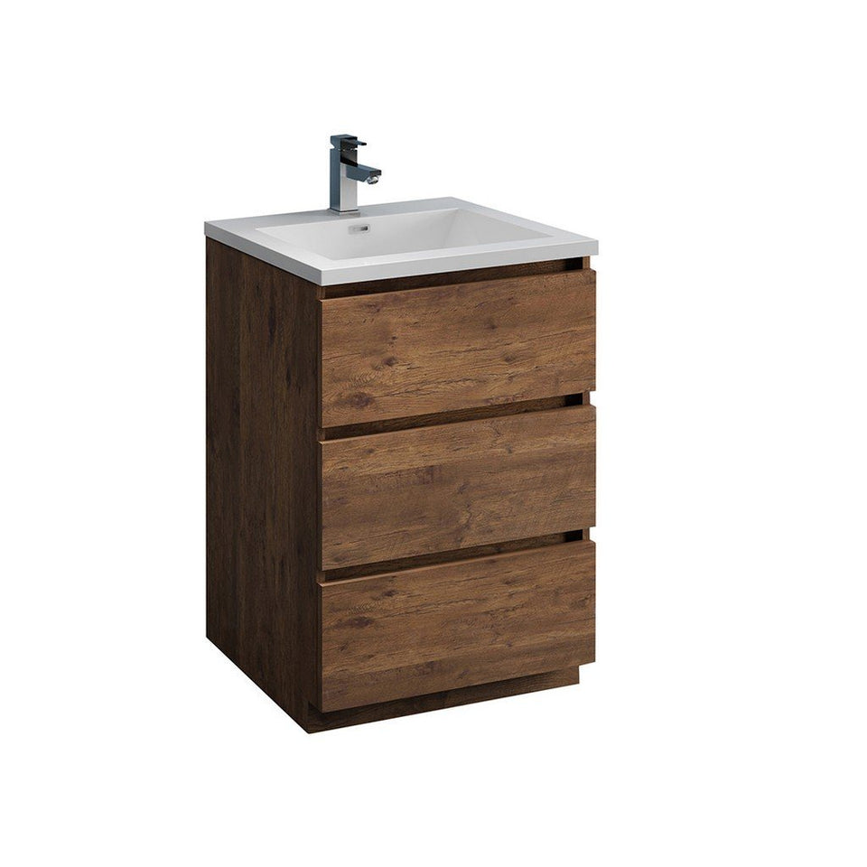 "Fresca Lazzaro 24"" Free Standing Modern Bathroom Cabinet with Integrated Sink Fresca 24 inch Single Vanity Rosewood"