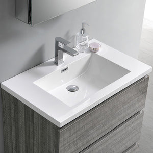 "Fresca Lazzaro 30"" Free Standing Modern Bathroom Cabinet with Integrated Sink Fresca 30 inch Single Vanity"