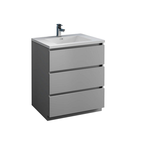 "Fresca Lazzaro 30"" Free Standing Modern Bathroom Cabinet with Integrated Sink Fresca 30 inch Single Vanity Gray"