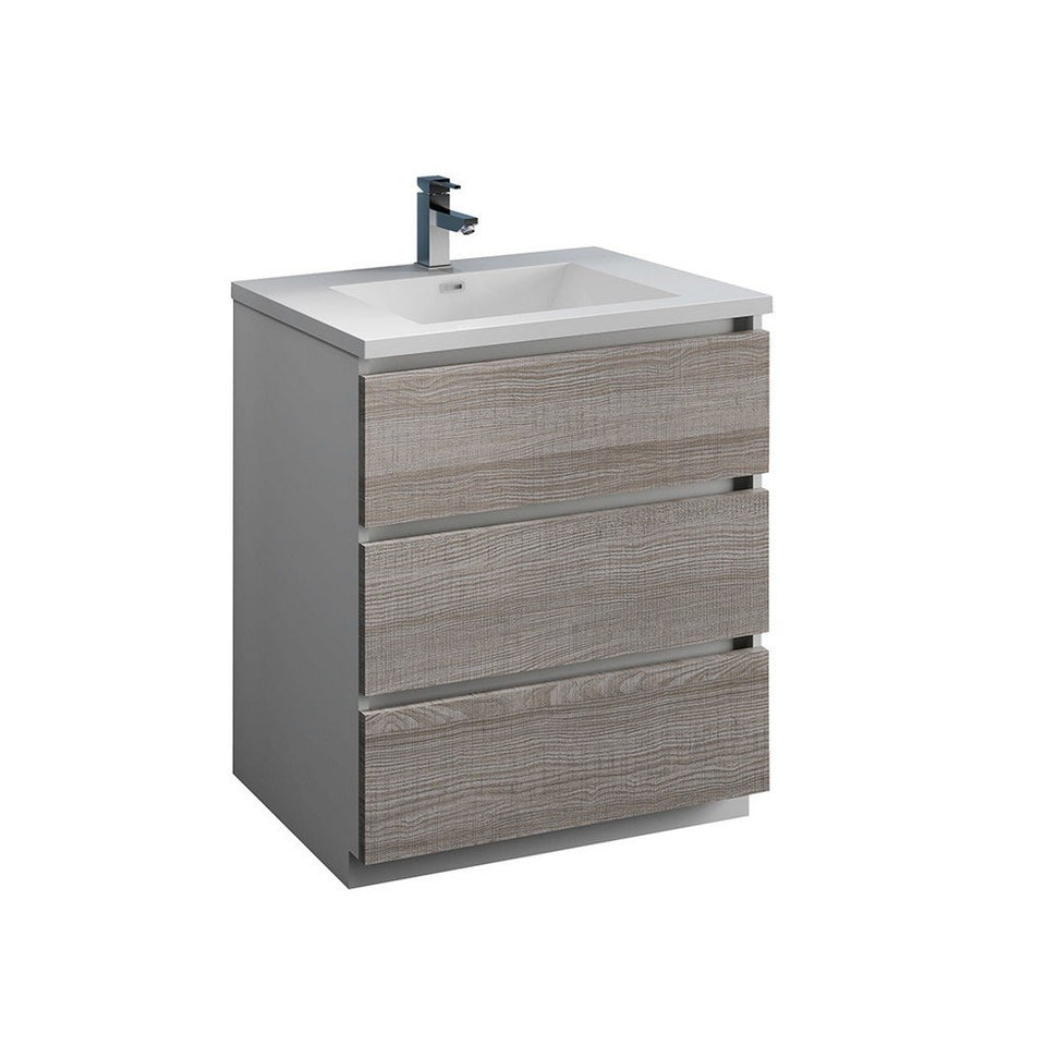 "Fresca Lazzaro 30"" Free Standing Modern Bathroom Cabinet with Integrated Sink Fresca 30 inch Single Vanity Glossy Ash Gray"