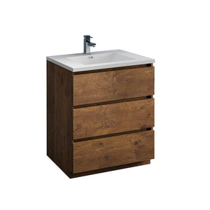 "Fresca Lazzaro 30"" Free Standing Modern Bathroom Cabinet with Integrated Sink Fresca 30 inch Single Vanity Rosewood"