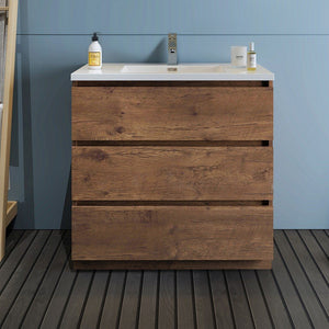 "Fresca Lazzaro 36"" Free Standing Modern Bathroom Cabinet with Integrated Sink Fresca 36 inch Single Vanity"