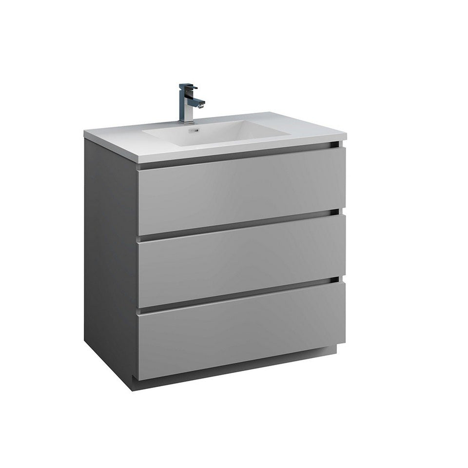"Fresca Lazzaro 36"" Free Standing Modern Bathroom Cabinet with Integrated Sink Fresca 36 inch Single Vanity Gray"