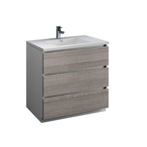 "Fresca Lazzaro 36"" Free Standing Modern Bathroom Cabinet with Integrated Sink Fresca 36 inch Single Vanity Glossy Ash Gray"