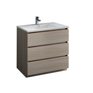 "Fresca Lazzaro 36"" Free Standing Modern Bathroom Cabinet with Integrated Sink Fresca 36 inch Single Vanity Gray Wood"