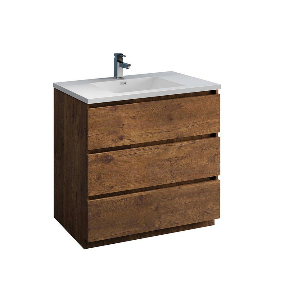 "Fresca Lazzaro 36"" Free Standing Modern Bathroom Cabinet with Integrated Sink Fresca 36 inch Single Vanity Rosewood"