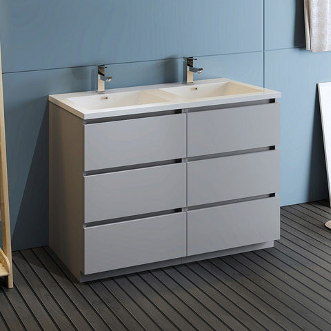 "Fresca Lazzaro 48"" Free Standing Modern Bathroom Cabinet with Integrated Double Sink Fresca 48 inch Double Vanity Gray"