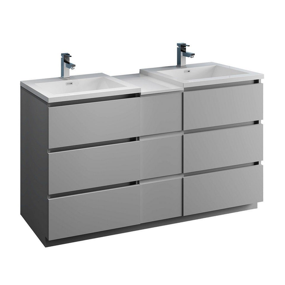 "Fresca Lazzaro 60"" Free Standing Double Sink Modern Bathroom Cabinet with Integrated Sinks Fresca 60 inch Double Vanity Gray"