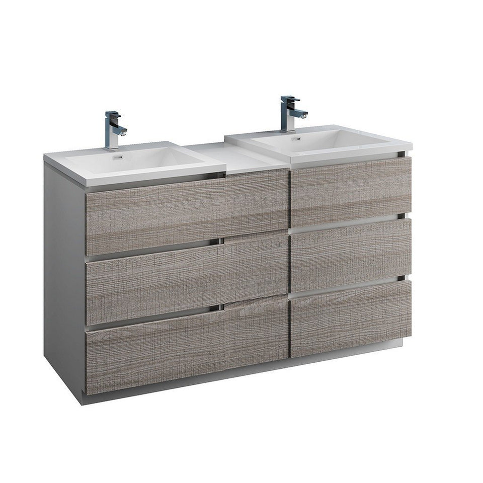 "Fresca Lazzaro 60"" Free Standing Double Sink Modern Bathroom Cabinet with Integrated Sinks Fresca 60 inch Double Vanity Glossy Ash Gray"