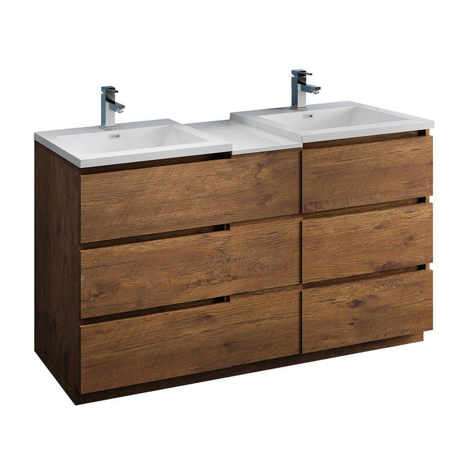 "Fresca Lazzaro 60"" Free Standing Double Sink Modern Bathroom Cabinet with Integrated Sinks Fresca 60 inch Double Vanity Rosewood"