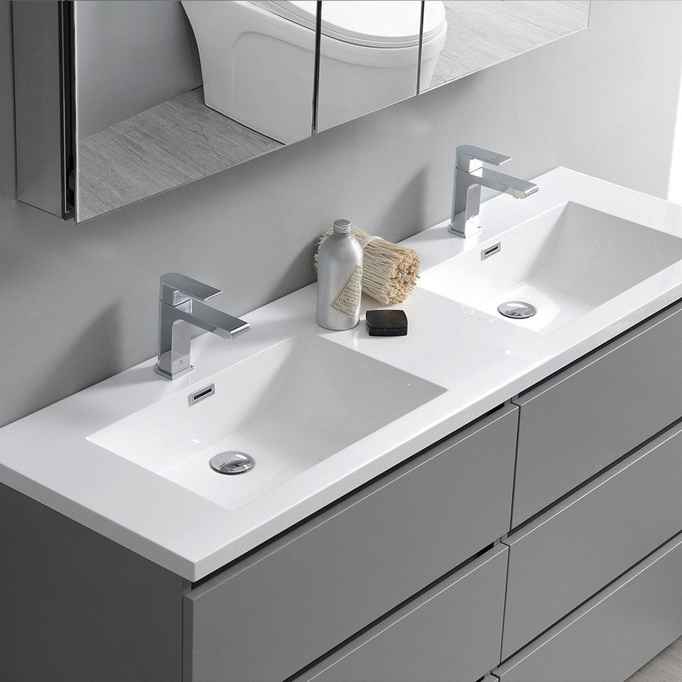 "Fresca Lazzaro 60"" Free Standing Modern Bathroom Cabinet with Integrated Double Sink Fresca 60 inch Double Vanity"