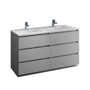 "Fresca Lazzaro 60"" Free Standing Modern Bathroom Cabinet with Integrated Double Sink Fresca 60 inch Double Vanity Gray"