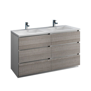 "Fresca Lazzaro 60"" Free Standing Modern Bathroom Cabinet with Integrated Double Sink Fresca 60 inch Double Vanity Glossy Ash Gray"