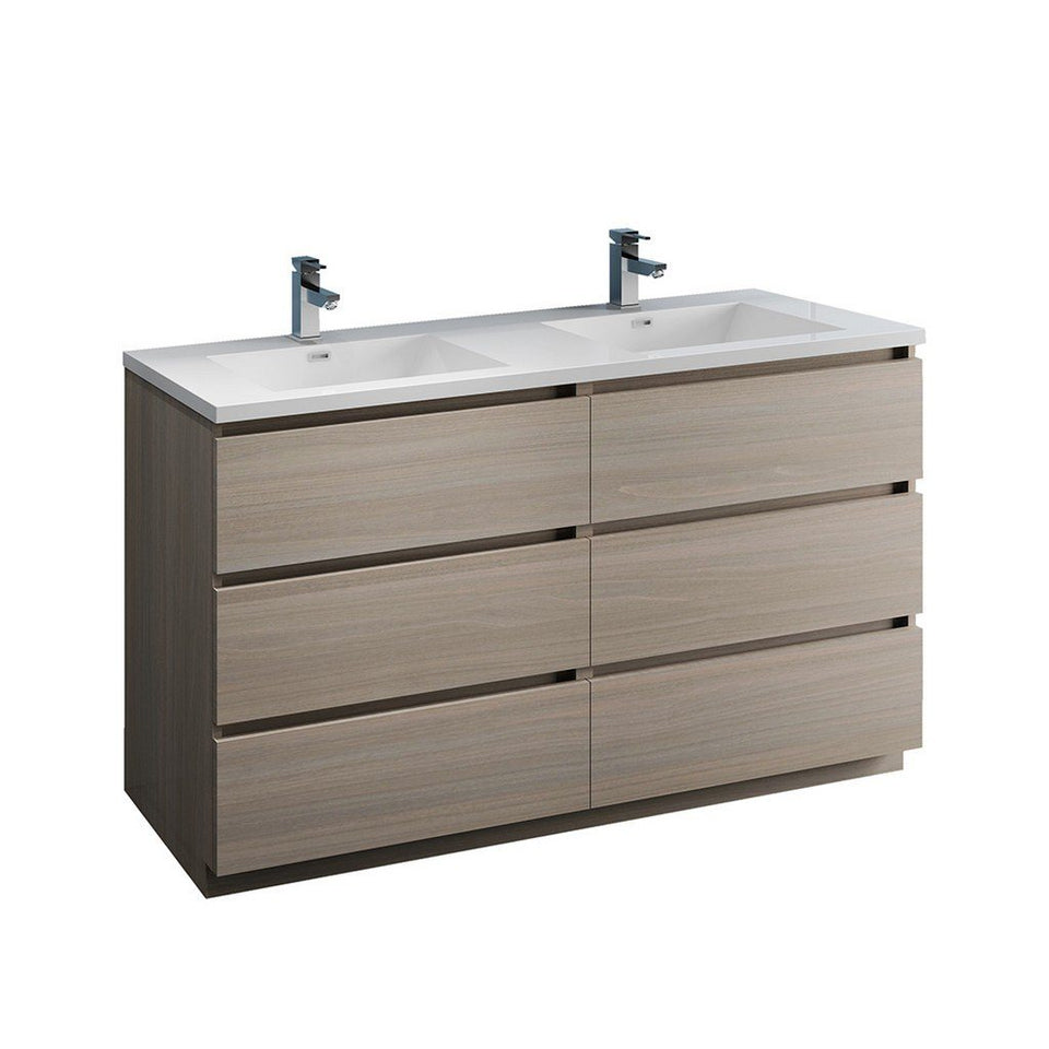 "Fresca Lazzaro 60"" Free Standing Modern Bathroom Cabinet with Integrated Double Sink Fresca 60 inch Double Vanity Gray Wood"