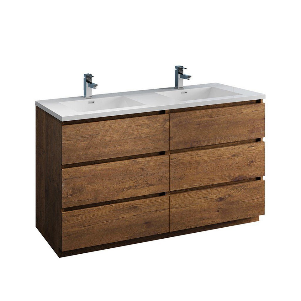 "Fresca Lazzaro 60"" Free Standing Modern Bathroom Cabinet with Integrated Double Sink Fresca 60 inch Double Vanity Rosewood"
