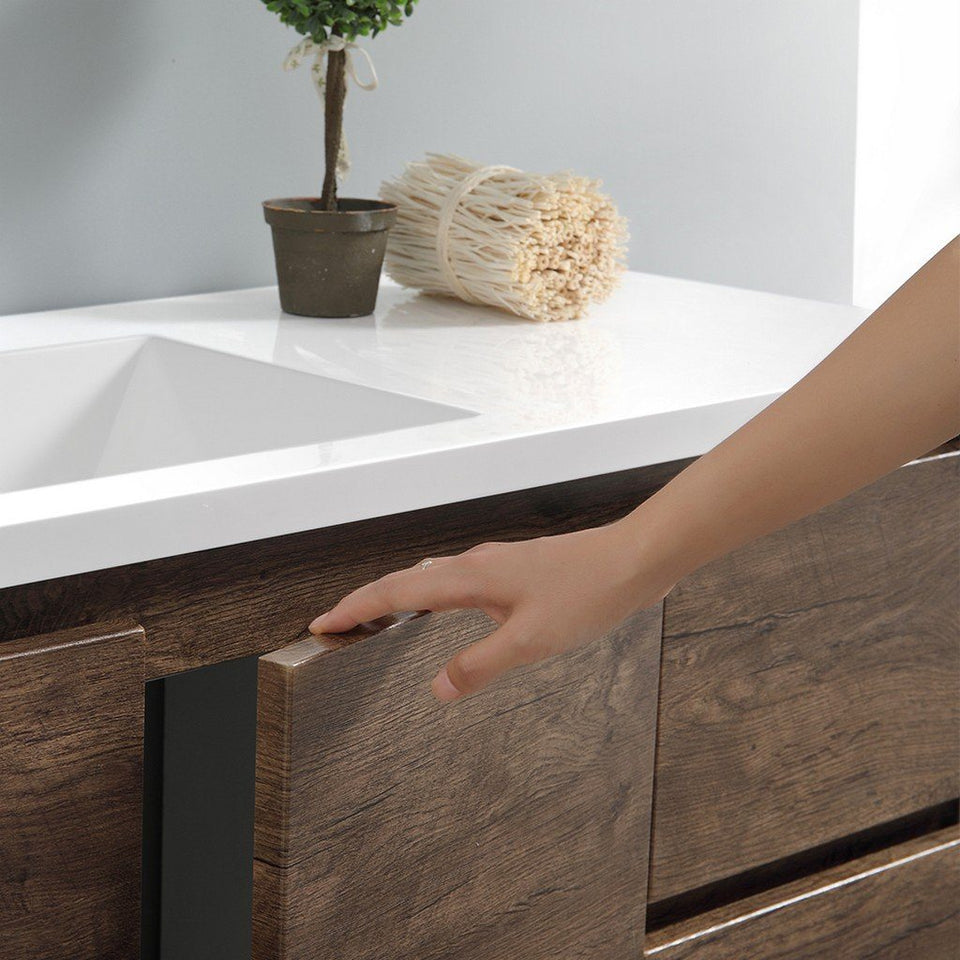 "Fresca Lazzaro 60"" Free Standing Modern Bathroom Cabinet with Integrated Single Sink Fresca 60 inch Single Vanity"