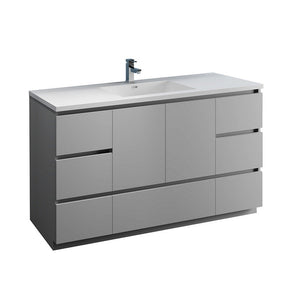 "Fresca Lazzaro 60"" Free Standing Modern Bathroom Cabinet with Integrated Single Sink Fresca 60 inch Single Vanity Gray"