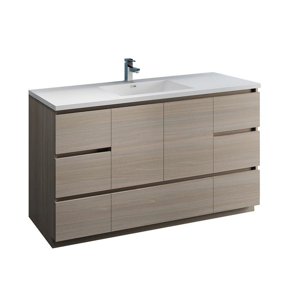 "Fresca Lazzaro 60"" Free Standing Modern Bathroom Cabinet with Integrated Single Sink Fresca 60 inch Single Vanity Gray Wood"